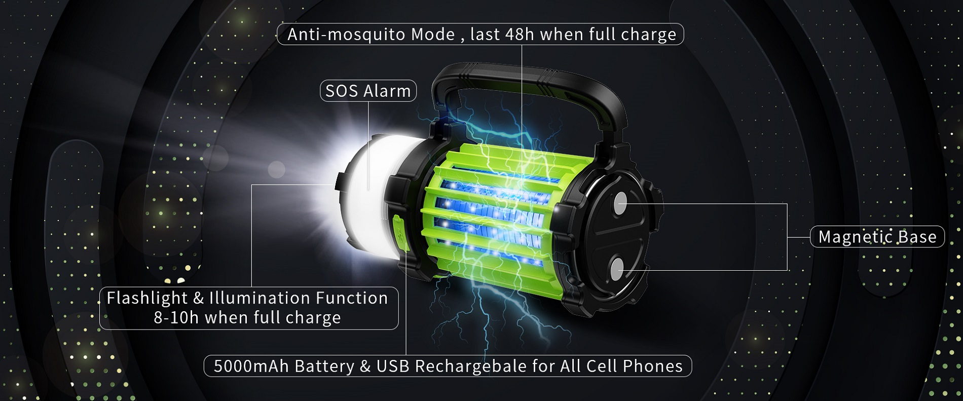 5000mAh Outdoor Camping Lantern with Bug Zapper
